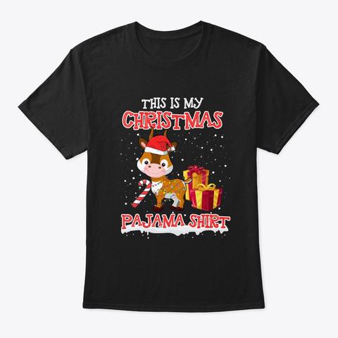 Merry Antelope Christmas T Shirt Black T-Shirt Front