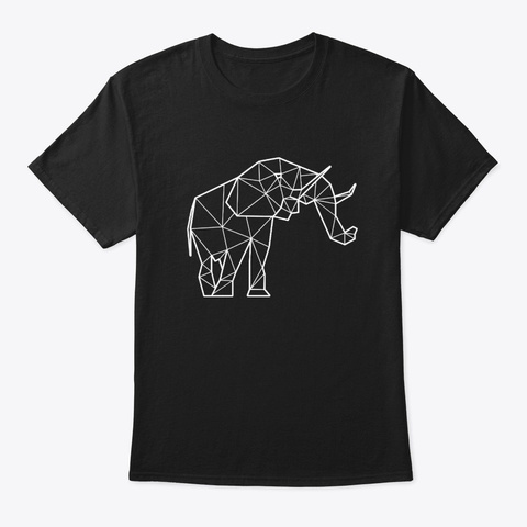 Polygonal Elephant Gift Ideas Black T-Shirt Front