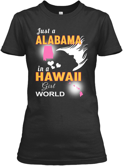 Just Alabama Hawaii Girl Black T-Shirt Front