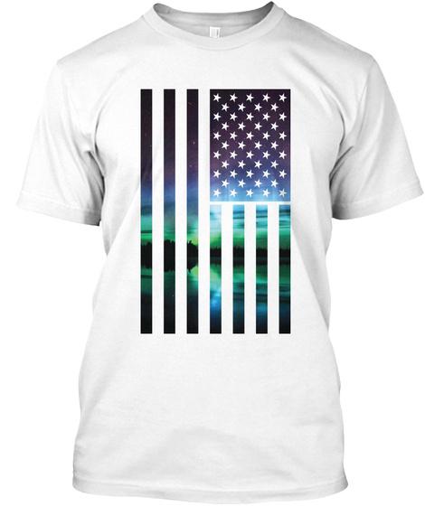 Deep North American Flag Shirts White T-Shirt Front
