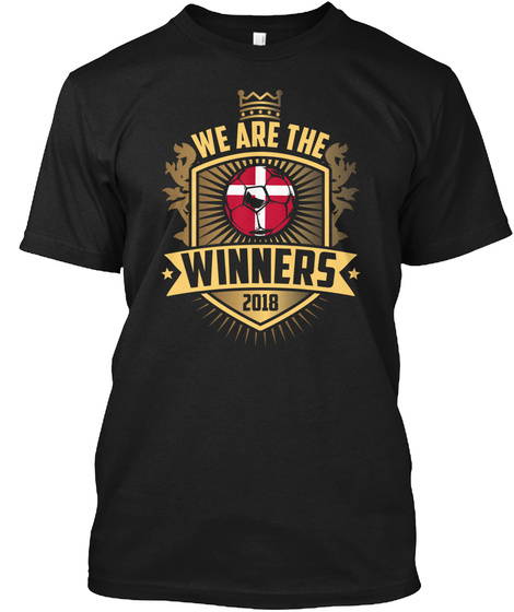 Denmark Soccer T Shirt For 2018 Winner Black T-Shirt Front