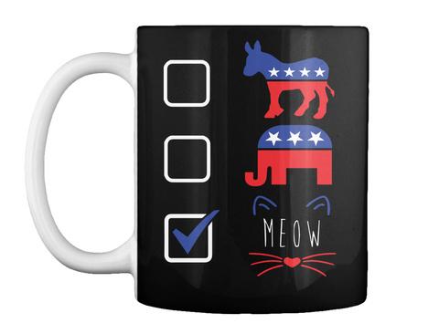 Meow Black Mug Front
