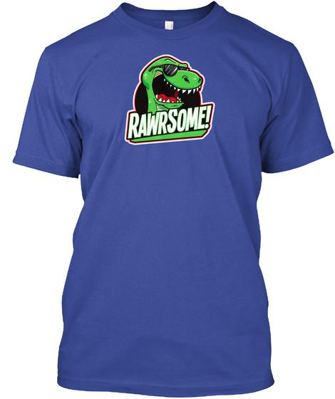 643228d61 T Rex Dinosaur Rawrsome Cool Cartoon Deep Royal T-Shirt Front
