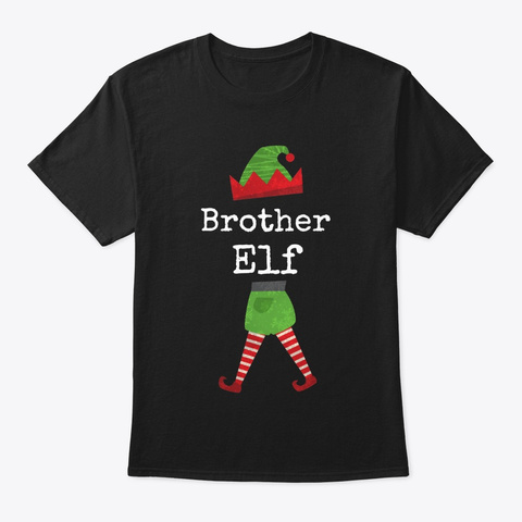 Brother Elf Family Group Design Black T-Shirt Front