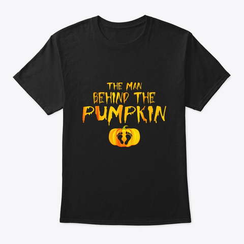 The Man Behind The Pumpkin Funny Black T-Shirt Front