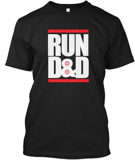 Run D&D Black T-Shirt Front