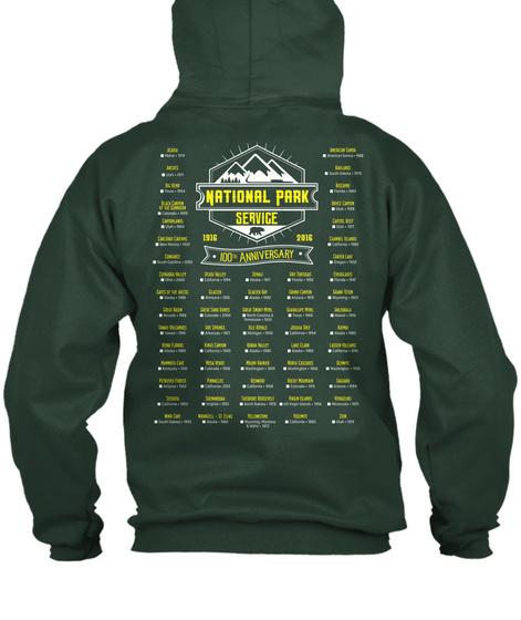 National Park Service 1916 2016 100 Anniversary Deep Forest  Sweatshirt Back