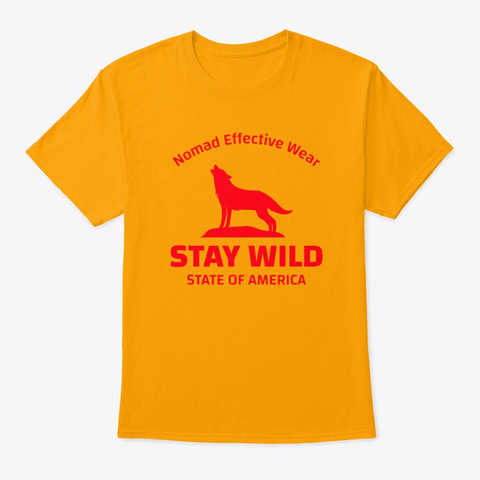 Nomad Stay Wild Wolf Gold T-Shirt Front