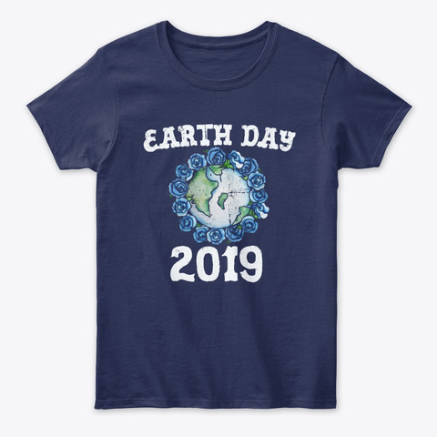 Earth Day 2019 Vintage Earth Art Navy T-Shirt Front