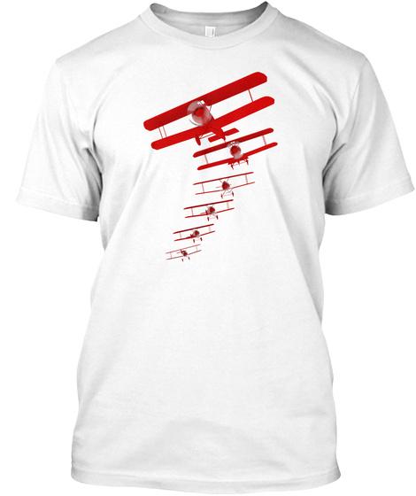 Retro Aviation Biplane Formation White T-Shirt Front