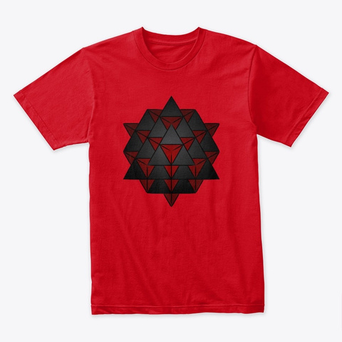 3 D 64 Tetrahedron Grid Series   Red Red T-Shirt Front