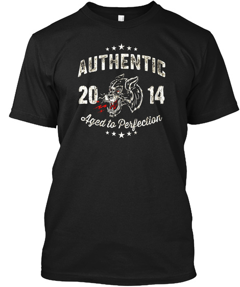 Made In 2014 Birthday Gift T Shirt Tattoo Black T-Shirt Front