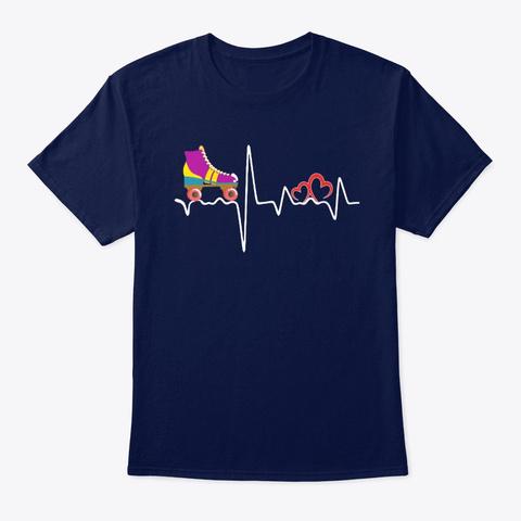 Heartbeat Roller Skate T Shirt Navy T-Shirt Front