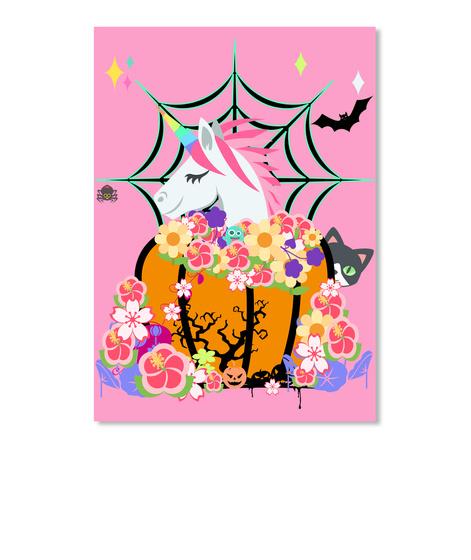 Pumpkin With Unicorn, Peeping Kitty Pink T-Shirt Front