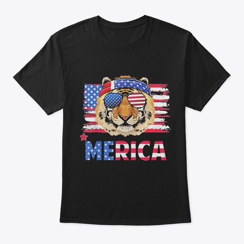 Tiger With Sunglasses American Flag Black T-Shirt Front