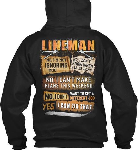 Awesome Lineman Black T-Shirt Back