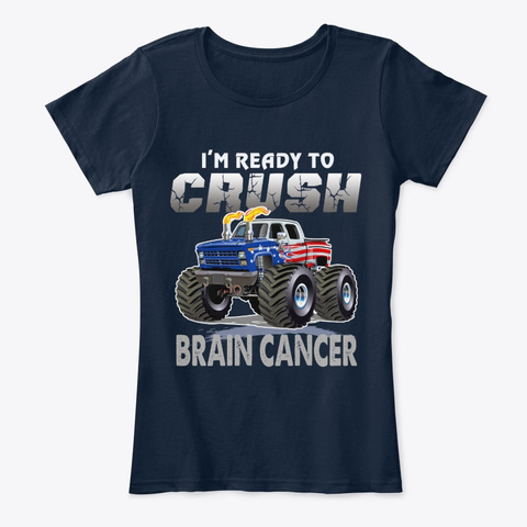 Crush Brain Cancer New Navy T-Shirt Front
