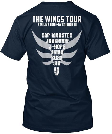 The Wings Tour Rap Monster Jungnoon J Hope Jimin Suga Jin V New Navy T-Shirt Back