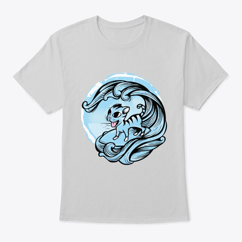 Cute Cat In The Ocean   Funny Cat Lover  Light Steel T-Shirt Front