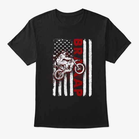 Flag Usa Lover Motocross Lover T Shirt Black T-Shirt Front