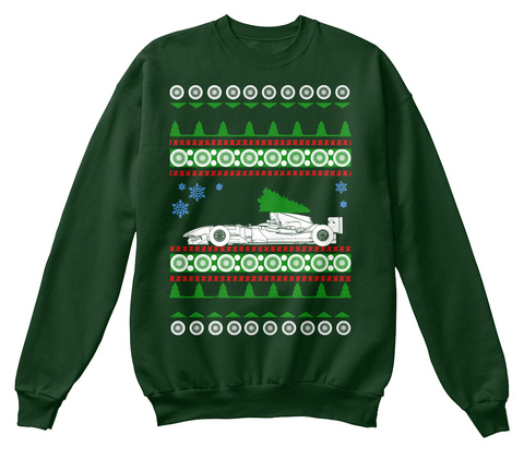 Formula 1 F1 One  Ugly Christmas Sweater Deep Forest  T-Shirt Front