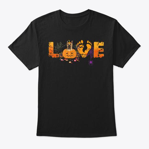 Love Great Dane Dog Halloween 2019 Tee   Black T-Shirt Front