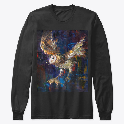 Owl Black Long Sleeve T-Shirt Front