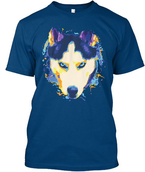 Siberian Husky   Show Your Colors Cool Blue T-Shirt Front