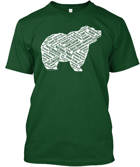All 60 Us National Park Names On Bear Deep Forest T-Shirt Front