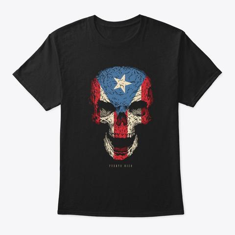 Skull Puerto Rico Flag Skeleton Black T-Shirt Front