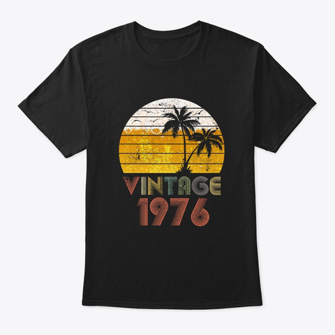 Vintage 1976 Drinking Beer 43th Birthday Black T-Shirt Front