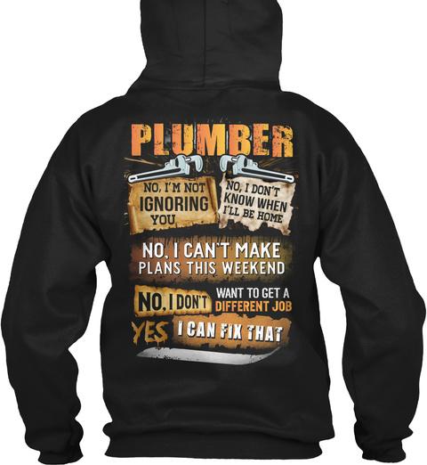 Awesome Plumber Black T-Shirt Back