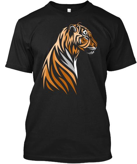 Cute Tiger Art Trending T Shirt Black T-Shirt Front