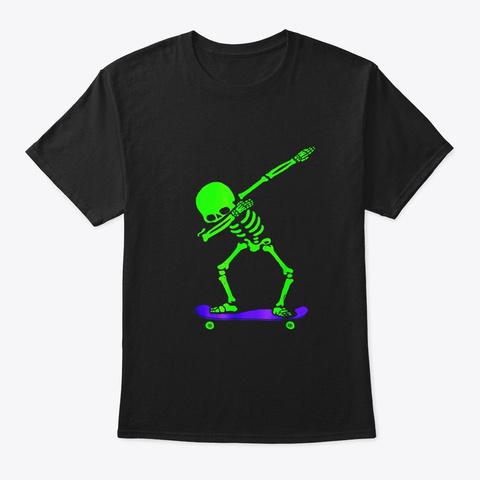 Halloween Dabbing Skeleton Skateboard T Black T-Shirt Front