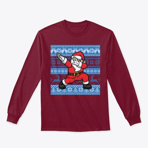 Ugly Knit Pattern Dabbing Santa Claus Cardinal Red T-Shirt Front