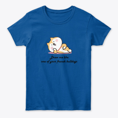 Shiba Draw Me  Royal T-Shirt Front