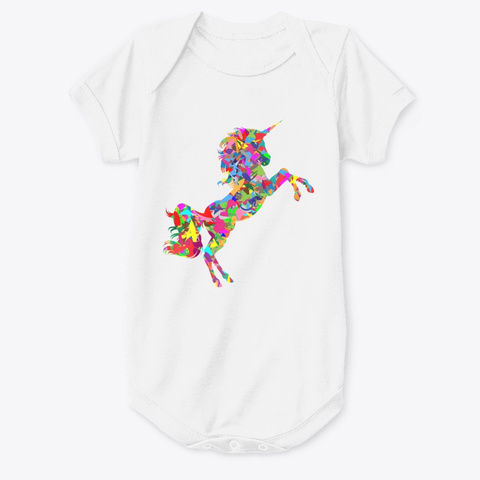 Painted Rainbow Unicorn White T-Shirt Front
