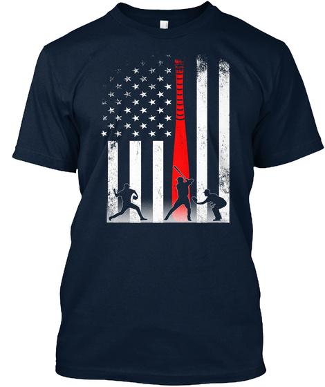 American Flag 4 Th July Shirt Baseball New Navy T-Shirt Front