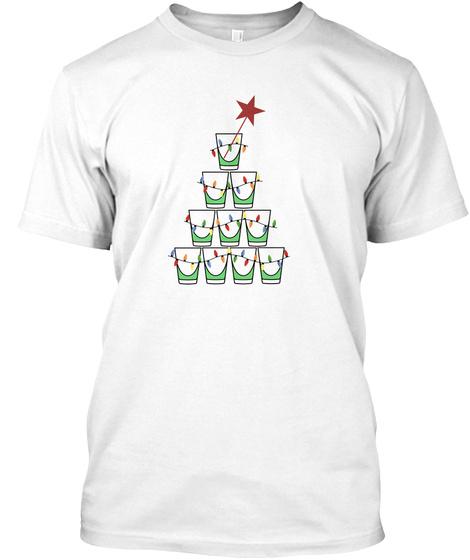 Shot Glass Christmas White T-Shirt Front