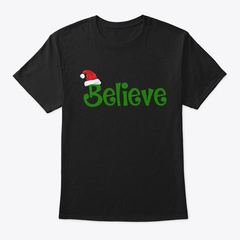 Believe Christmas Pajamas Santa  Black T-Shirt Front