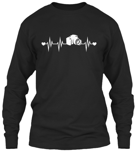 Heartbeat Camera Black Long Sleeve T-Shirt Front