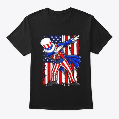 Dabbing Uncle Sam T Shirt 4th Of July Black T-Shirt Front