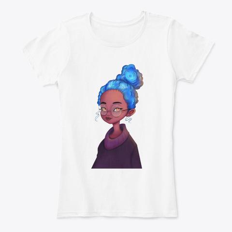 Black Kid Art  Daughter Blue Hair Lovely White T-Shirt Front