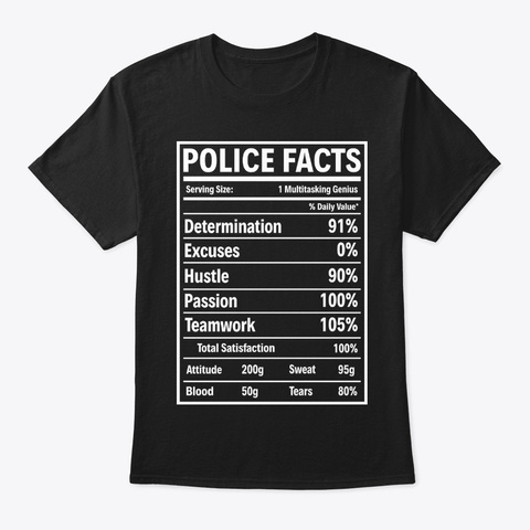 Police Facts Police T Shirt Black T-Shirt Front
