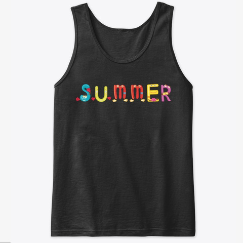 Summer Cool Funny Tank Top Black T-Shirt Front