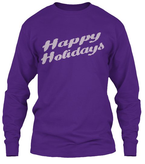 Happy Holidays Knitted Text T Shirts Purple T-Shirt Front