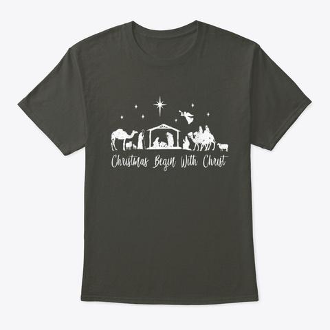 Christmas Begin With Christ  Smoke Gray T-Shirt Front