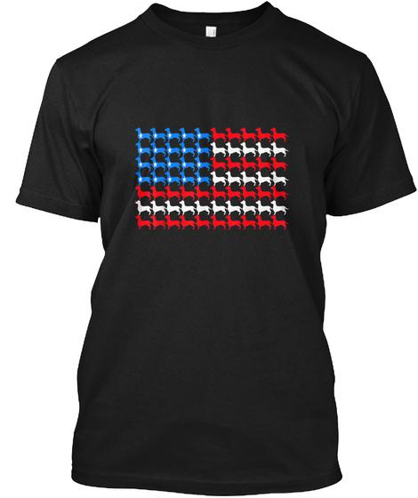 Dachshund 4 Th Of July Usa American Flag  Black T-Shirt Front