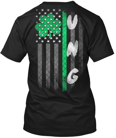 Ung: Lucky Family Clover Flag Black T-Shirt Back