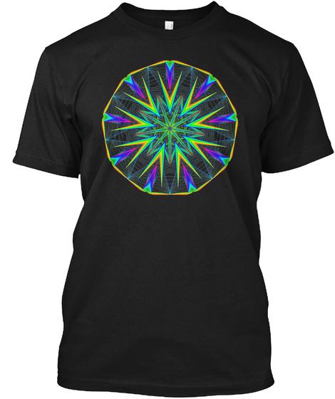 Mandala Geometry Sacred Fractal Black T-Shirt Front